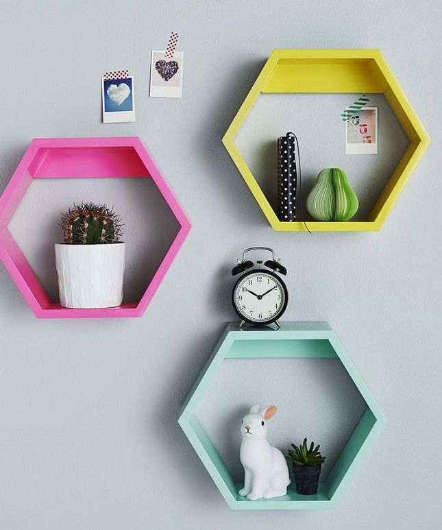 Paint geometric hexagon shelves for your space.