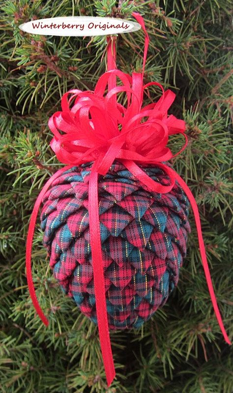 Fabric Pinecone Ornament Red and Green by WinterberryOriginals