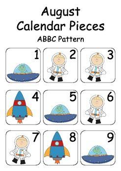 August / Space Theme Calendar Pieces for Numeracy Wall and Calendar Math Bulletin Board