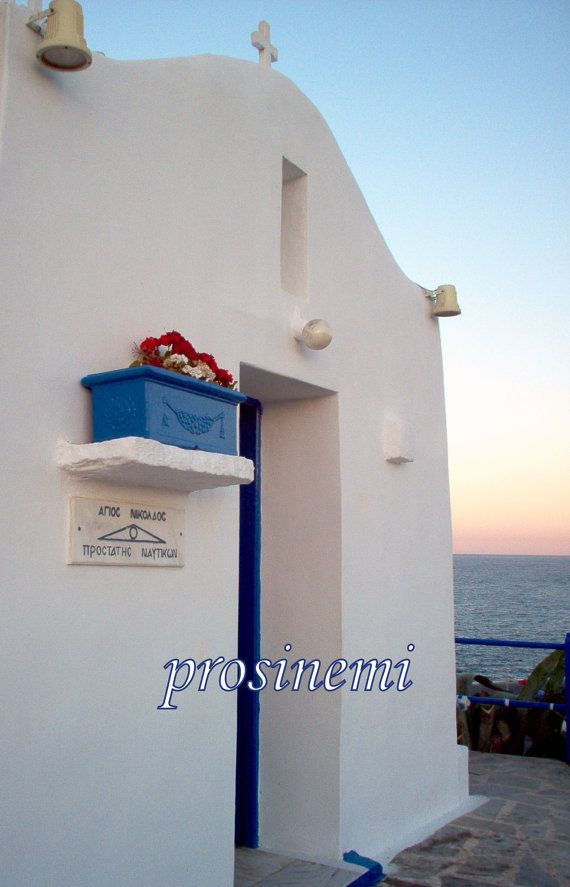 Greece  photo of a small white blue church by prosinemi on Etsy, €15.00