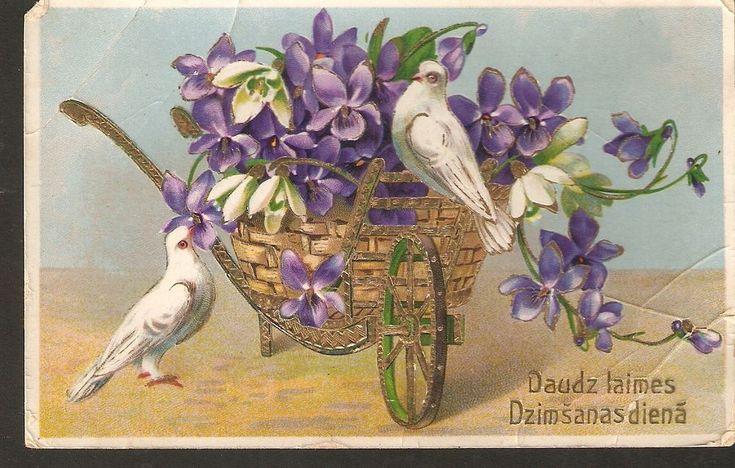 Ancienne carte postale Souhaits d'anniversaire Oiseaux Colombe blanche Pensées