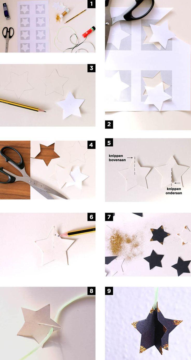 Leuke en gemakkelijke kerstdecoratie voor kinderen in de vorm van een ster. Hier kan je gratis de pdf met de sterren downloaden.
