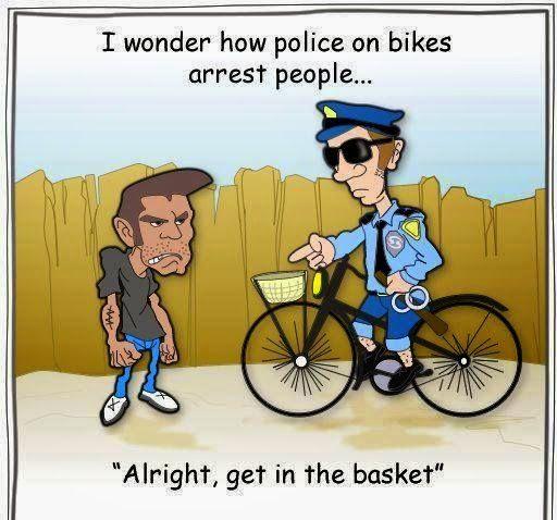 Police Bike Arrest Cartoon | Police jokes, Police humor ...