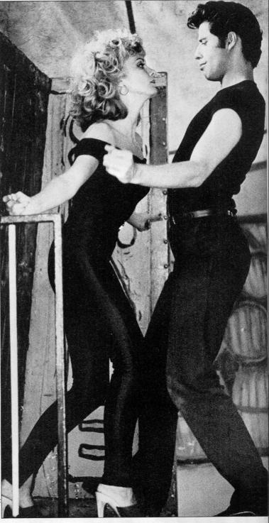 Olivia Newton John and John Travolta aka. Sandy Olsson and Danny Zuko - 'Grease', 1978.
