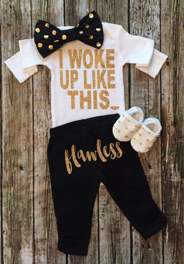 A personal favorite from my Etsy shop https://www.etsy.com/listing/242422622/baby-girl-bodysuit-i-woke-up-like-this