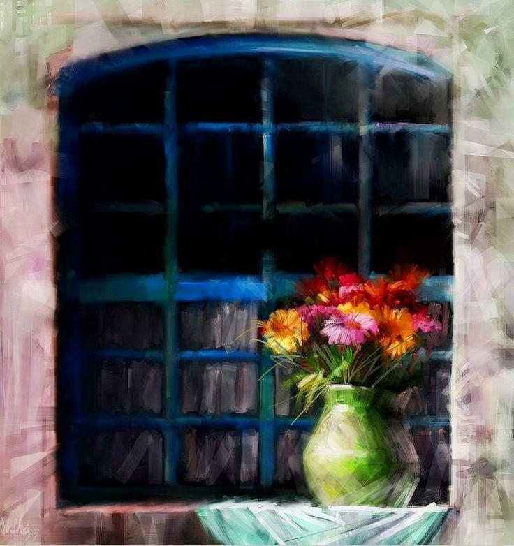 Pintura de flores al leo ventanas y puertas pinterest for Pintura para marcos de puertas y ventanas