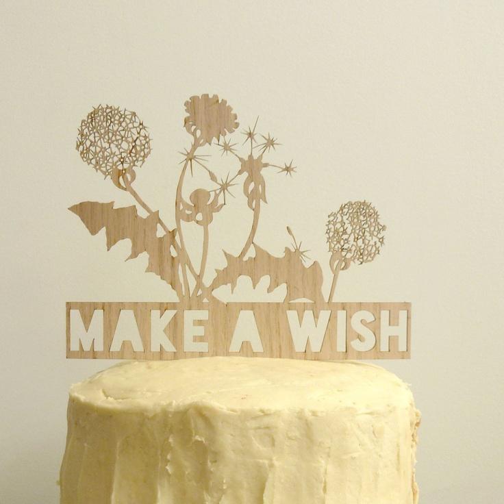 Make A Wish Birthday Cake Topper. (wood veneer) via Etsy.