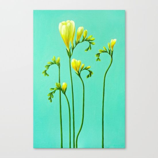 Yellow Freesias - oil painting