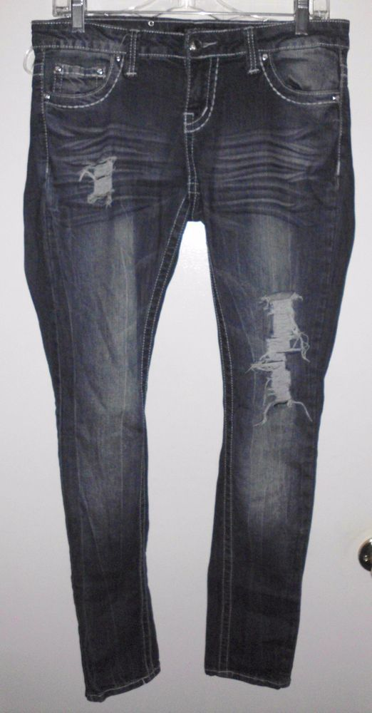 PREMIERE Destroyed Grunge Rhinestone Pockets Super Skinny Stretch Jeans Sz 5/6R #Premiere #Skinny