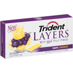 Trident Layers Grape Lemonade Sugar Free Gum, 14 pieces