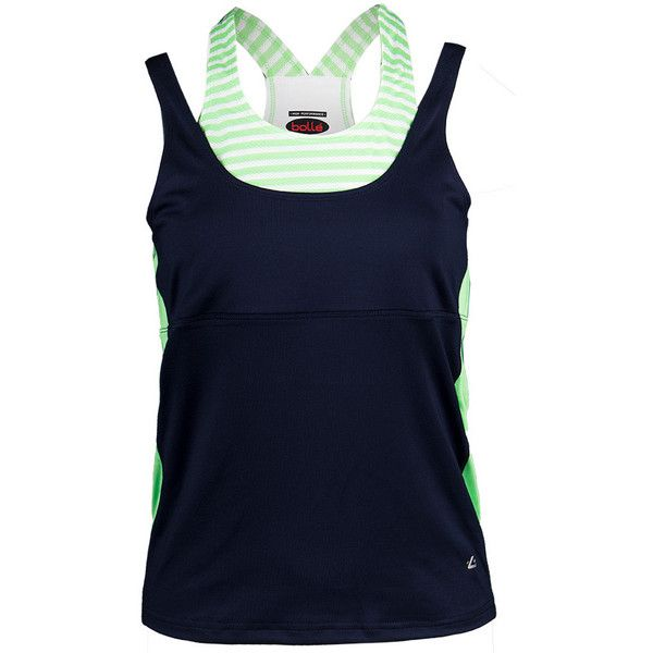 The Bolle Women's Penelope Racerback Tennis Tank has several beautiful features to make you look and feel like a champion on the court. The split racerback will show off your strong shoulders, while the high scoop neckline offer a modest feminine look. The built-in bra offers support, so you feel secure. Beautiful colorblocking and stitching detail for a fitted slim flattering profile. Bolle logo on hem above left hip.