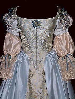 C17th: blue-gold brocade silk seventeenth century dress with slashed sleeves