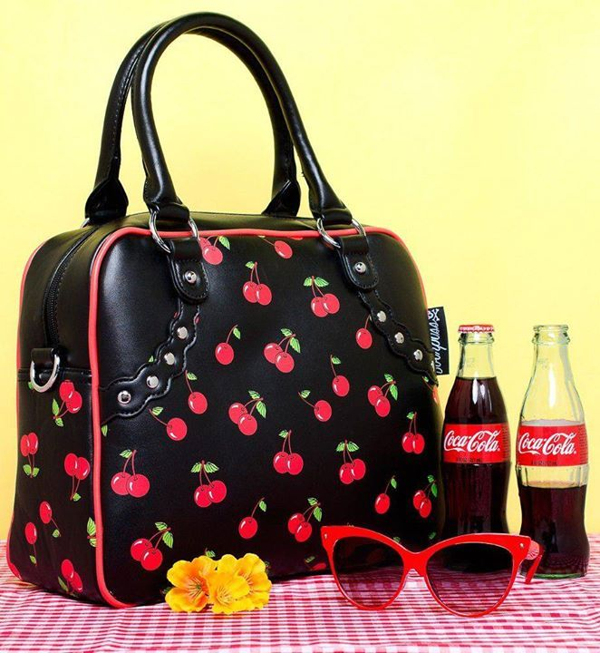 Sac à Main Pin-Up Rockabilly Rétro 50s Bowler Cherry Cerises…