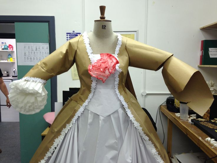 IN THE PROCESS:  1775 paper dress for uni, made by me, sam and reece