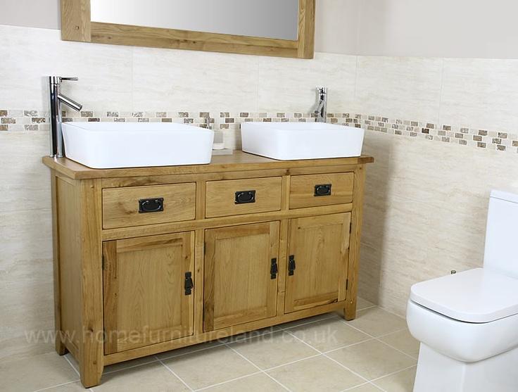 Rustic Oak Double Bathroom Vanity Unit Bathroom