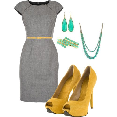 gray and yellow : Colors Combos, Fashion, Style, Colors Combinations, Yellow Shoes, Work Outfits, The Dresses, Grey Dresses, Mustard Yellow