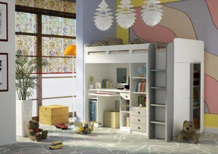 Kombination aus Bett Schrank und Schreibtisch 27XD1T03 Combi Kinderzimmer weiß: Amazon.de: Küche & Haushalt