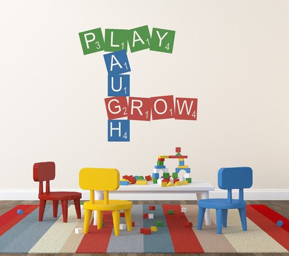 Scrabble Decal Play Laugh Grow Play Room Childrens Wall Decal Vinyl Wall Quote Kids Play Room Decal Vinyl Lettering Playroom Decor