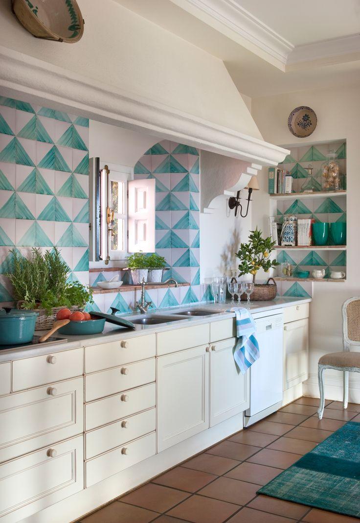 M s de 25 ideas incre bles sobre cocina verde azul en - Cocinas azul tierra ...