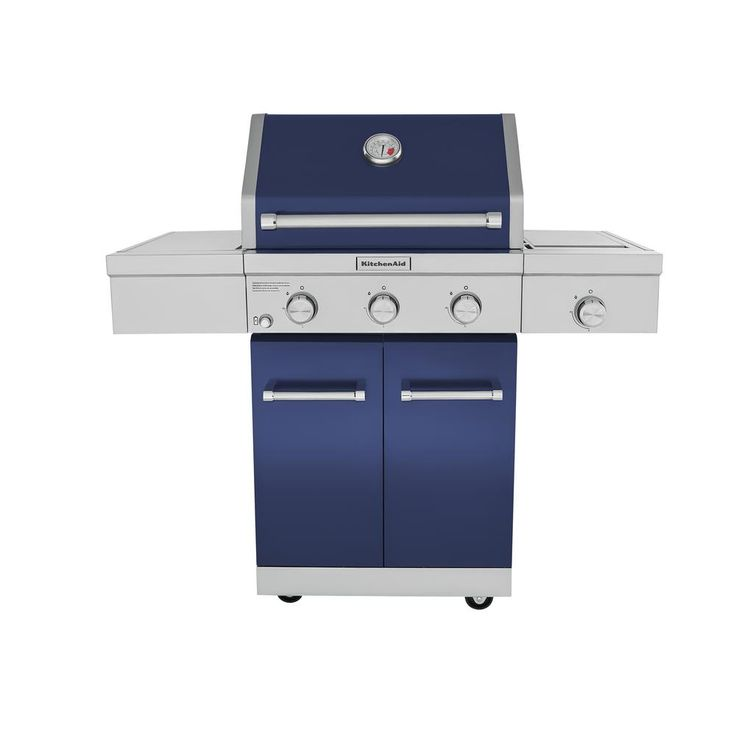 Kitchenaid 3burner propane gas grill in blue with ceramic