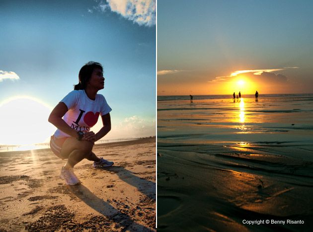 Jogging..waiting for Sunset on Legian Beach, Bali, Indonesia http://www.beeamazing.com/my-5-favorite-beaches-in-bali/