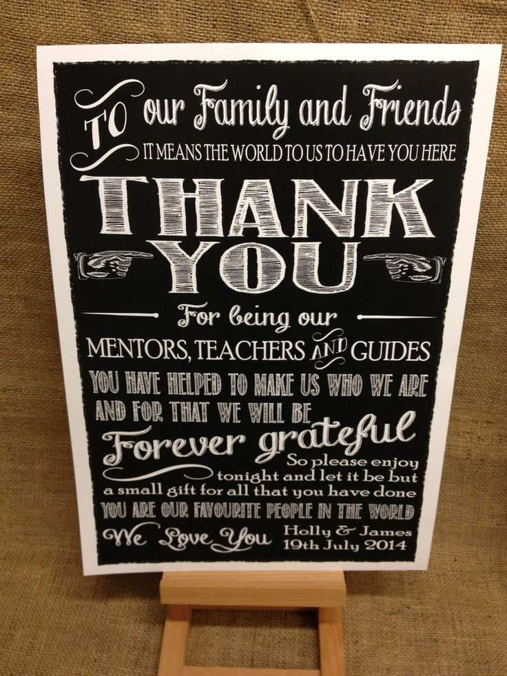 wedding thank you note for gift of money%0A PERSONALISED chalkboard style THANK YOU message sign WEDDING