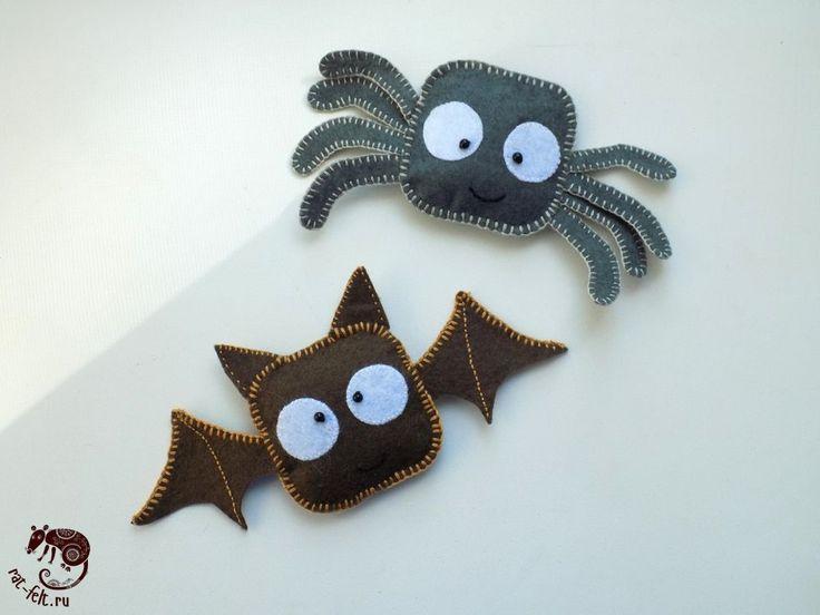 Halloween felt spider & bat pattern / Фетровые паук и летучая мышь к Хэллоуину