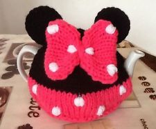 Hand knitted Minnie Mouse Inspired tea cosy. To Fit A 4-6 Cup (2 Pint) Tea Pot