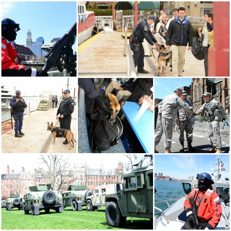 Still in our prayers...Massachusetts National Guard — The Nation's First, the USCG Sector Boston and the U.S. Coast Guard Maritime Safety and Security Team New York (91106) along with fellow first responders and local and federal law enforcement agencies work to provide security following the Boston Marathon explosions. (U.S. Army and Coast Guard photos by Cadet Matthew Feehan, Petty Officer 2nd Class Rob Simpson, Petty Officer 3rd Class MyeongHi Clegg and Petty Officer 3rd Class Adam…