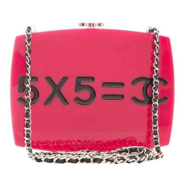 Preowned Chanel Pink Plexiglass Equation Bag (47.495 RON) ❤ liked on Polyvore featuring bags, handbags, shoulder bags, pink, preowned handbags, pink shoulder bag, pink purse, pink handbags and pre owned handbags