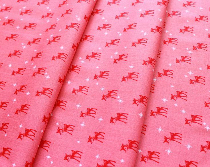 Riley Blake Cozy Christmas C5364 Reindeer Pink