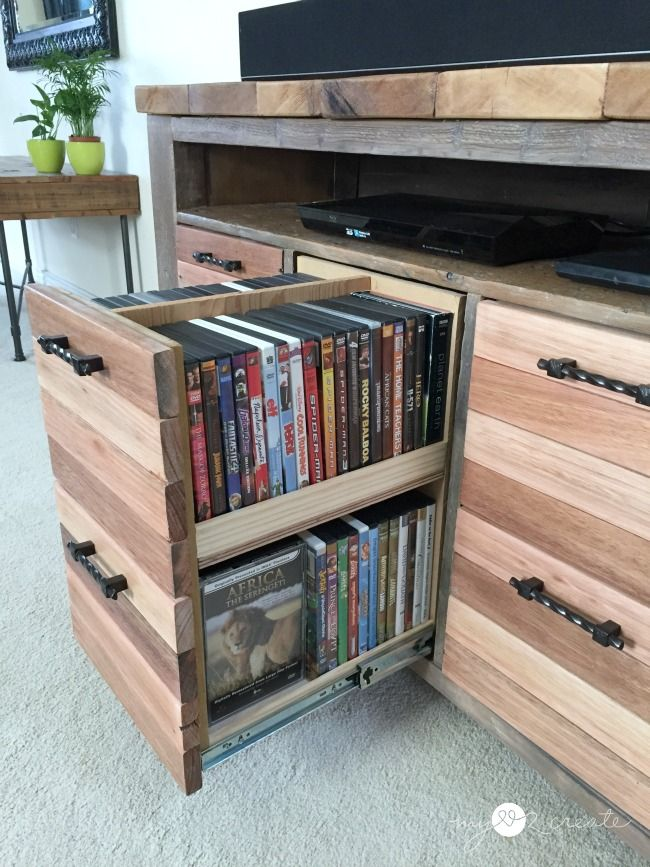 Not the console idea I have in mind, but these media storage drawers are pretty brilliant.