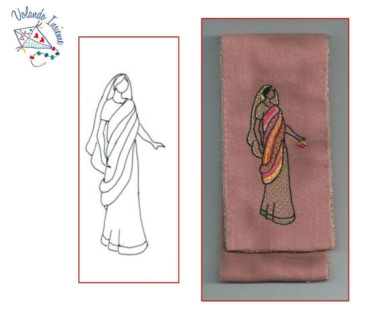 """Donna sari rosa. Disegno e realizzazione di """"Volando Insieme"""""""