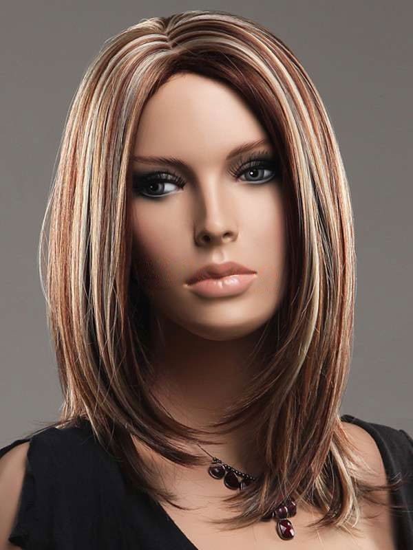 color Wig  | Multi-Color Straight Medium Length Women's Synthetic Wig #wig #hair
