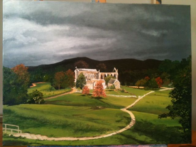 Acrylic painting of a favourite place, Bolton Abbey, Yorkshire Dales www.katiestewartart.co.uk