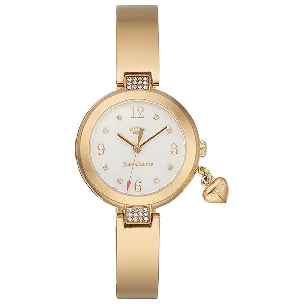 Juicy Couture Women's Sienna Crystal Half Bangle Watch ($165) ❤ liked on Polyvore featuring jewelry, watches, gold, juicy couture bangle, bangle watches, hinged bracelet, juicy couture and juicy couture jewellery