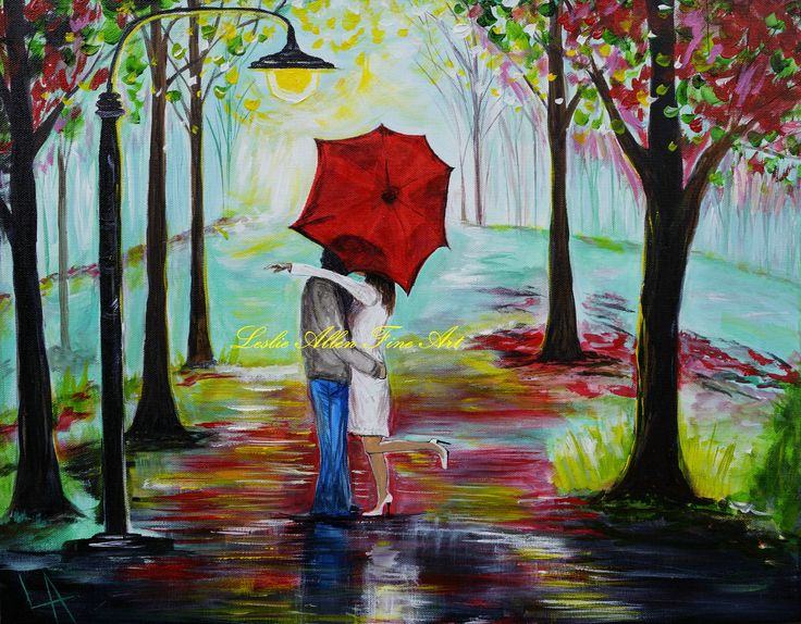 "Couple In Love Couples Kissing Raining Rain Red Umbrella Couple Hugging Embracing Umbrella Park Street Light Painting ""Kiss Me In The Rain"". $85.00, via Etsy."