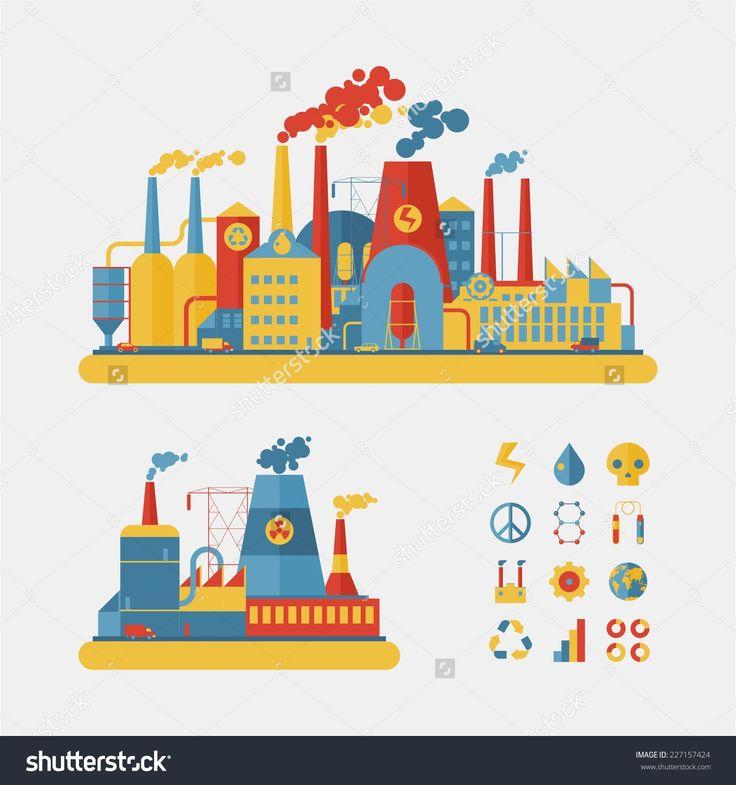 Industrial Factory Buildings Set In Flat Design Style Stock Vector Illustration 227157424 : Shutterstock