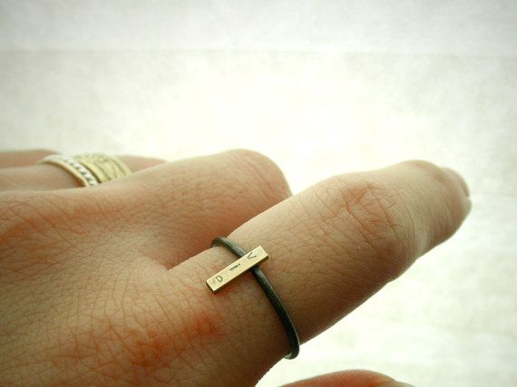 14K Gold and Silver Custom Initial Ring Rectangle by palefishny, bracelet Jewelry