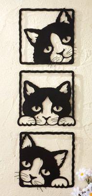 Peeping Black Cats 3D Metal Wall Plaques