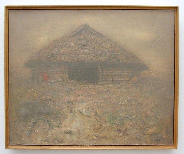 Boris Zaborov  Dacha 1983 acrylic on canvas 23 3/8 x 28 5/8 in. (59 x 78 cm ) - Mimi Ferzt Gallery