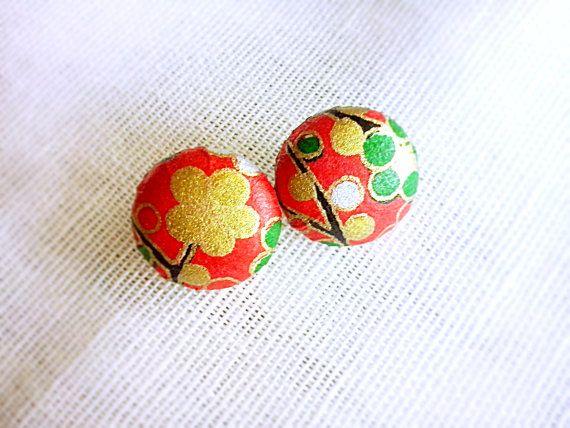 Handmade Japanese washi paper stud earrings by LOLAsHome on Etsy, $12.00