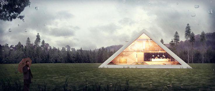 O arquiteto mexicano, Juan Carlos Ramon, atualizou o uso da pirâmide para uma casa familiar