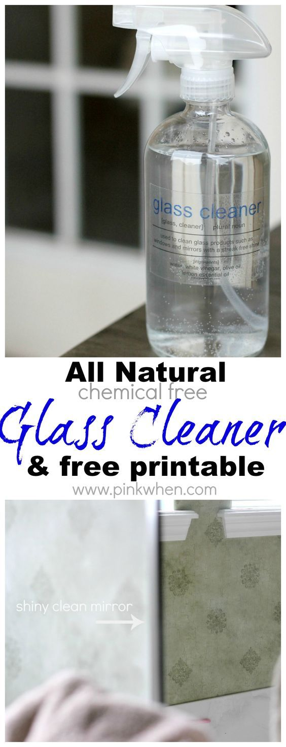 DIY All Natural Glass Cleaner: ◾water ◾2/3 cup white vinegar ◾10 drops Tea Tree (Melaleuca alternifolia) OR Lemon essential oil (this is the brand that I use) ◾1/4 tsp olive oil Mix 2/3 cup white vinegar, 1 1/3 cups water, 1/4 tsp olive oil, and 10 drops of the tea tree OR Lemon essential oil. It will be helpful to use a funnel to get the ingredients into the glass bottle,