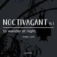 Word of the day ‪#‎noctivagant‬ ‪#‎wordoftheday‬ ‪#‎definedatfive‬