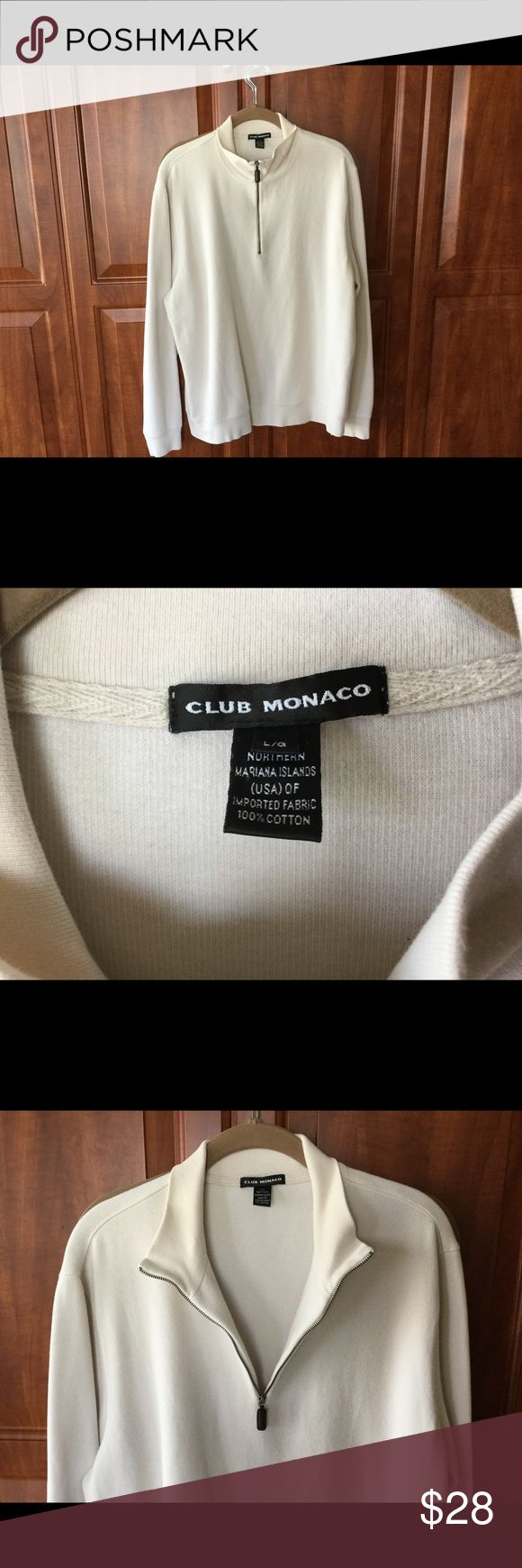 Club Monaco Men's Large LS White Sweater Men's Large Club Monaco 100pc Cotton Partial Zippered Front. Sleeve Length 25 Inches. Good Weight and Feel Club Monaco Sweaters Zip Up
