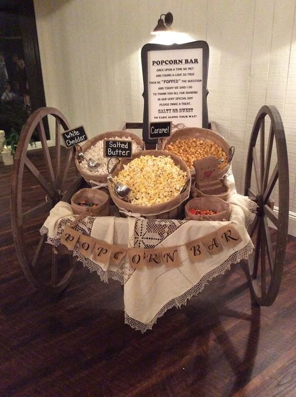 Popcorn Bar At The Romantic Country Club Wedding Reception