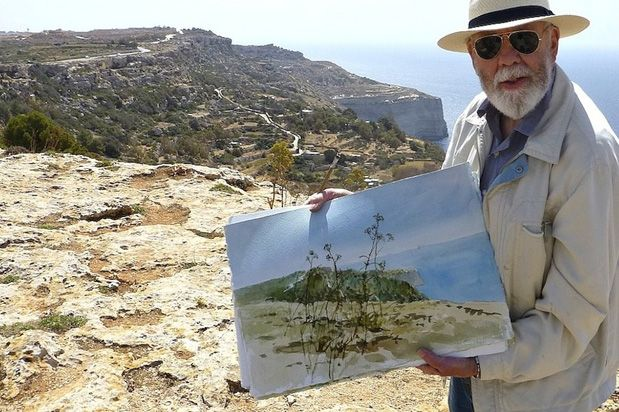 A photo I took of Tom Forrestall on our adventure to paint in Malta in April 2016.The #CorinthiaPalace Hotel & Spa is currently proudly hosting renowned #Canadian #artist Tom Forrestall as part of #Malta's first-ever #ArtistinResidence programme. Mr Forrestall will be meeting and greeting the #public on the 23rd April.  Mr Forrestall's #paintings will also be for #sale from the start of the #exhibition, and half of the proceeds from the sales will be #donated back by Forrestall to…