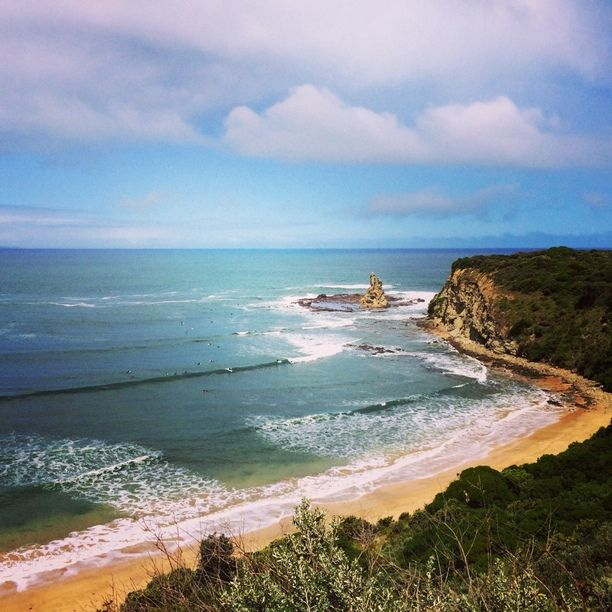 "Discovered by Stephanie Mizuha, ""Amazing views from the coastal road. You can see surfers dotted along the cliffs. Not sure what they're up to but be careful of the the rocks! "" at Eagles Nest, Bunurong Marine National Park, Inverloch, Australia"