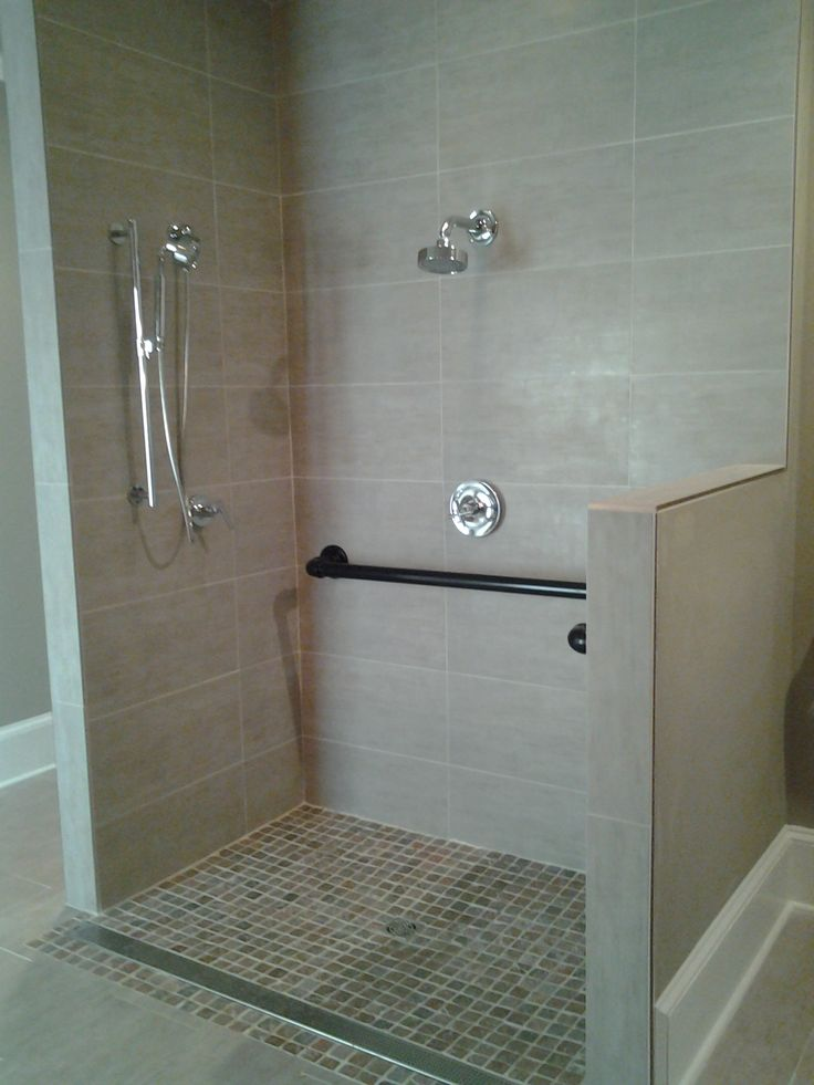 Handicap accessible shower w custom grab bars great pin for Handicapped bathroom design